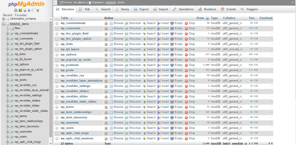 Quá trình Import database xong