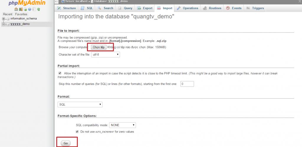Bạn có thể Import file nén abc.zip hoặc abc.sql sau đó chọn Go
