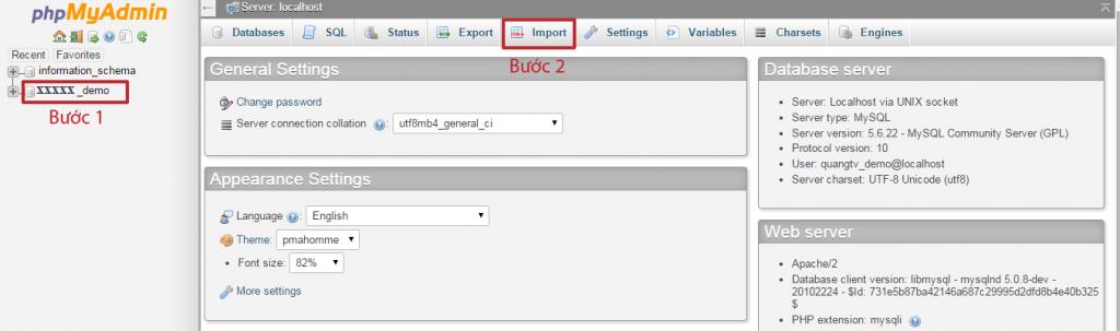 nhấp chọn tên database bên trái và chọn Import