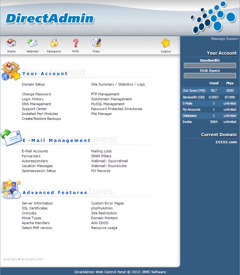 Màn hình trang chủ quản lý Linux hosting