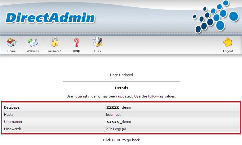 Kết quả thông báo tên database đã tạo xong